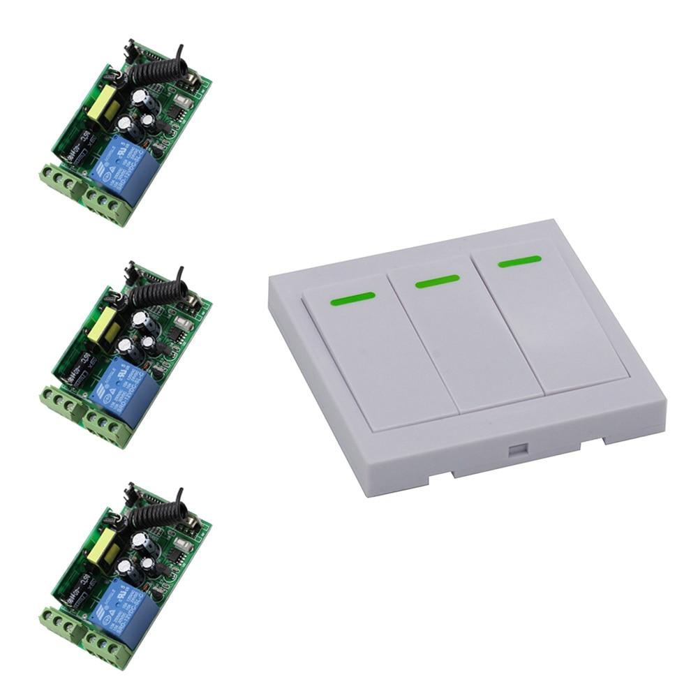 85V 110V 120V 220V 250V Wireless Remote Control Switch System 3Receivers +Wall Panel Remote Transmitter Sticky Remote Smart Home<br>