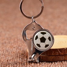 New Keychain Nail Clipper Bottle opener  Keychain Multifunctional Round Nail Scissors Ball design key chain KeyRing Gifts YS0217