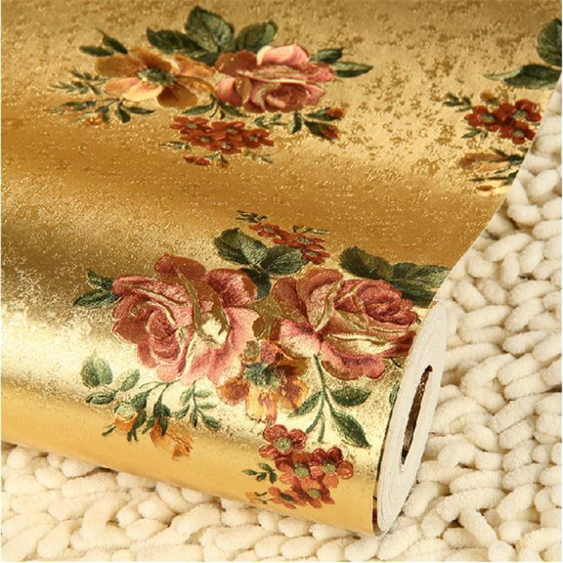 mural Rose flower gold foil wallpaper gold embossed background wall wallpaper roll classic flower wall papers floral for ceiling<br><br>Aliexpress