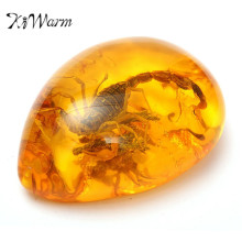 KiWarm Fashion Natural Scorpions Insect Inclusion Amber Baltic Gemstone Pendant Necklace Sweater Decorations DIY Crafts Gift