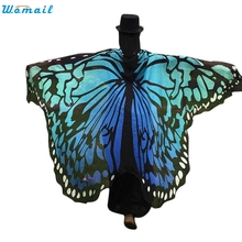 New Chiffon Butterfly Wings Shawl Women Beach Cover Up Dress Sarong 197*125CM Beach suit Bathing Suit Beachsuit Beachwear Febr08(China)