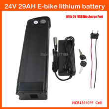 Bottom discharge 24V Lithium battery 24V 29AH Electric Bike battery Use Panasonic 2900mah cell with USB Port 29.4V 3A charger(China)