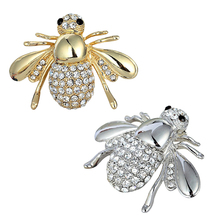 2016 Latest Women Adorable Honey Bee Brooch Rhinestone Crystal Costume Pin Silver Gold Tone Gift  NY79 7FZ7 89ZP