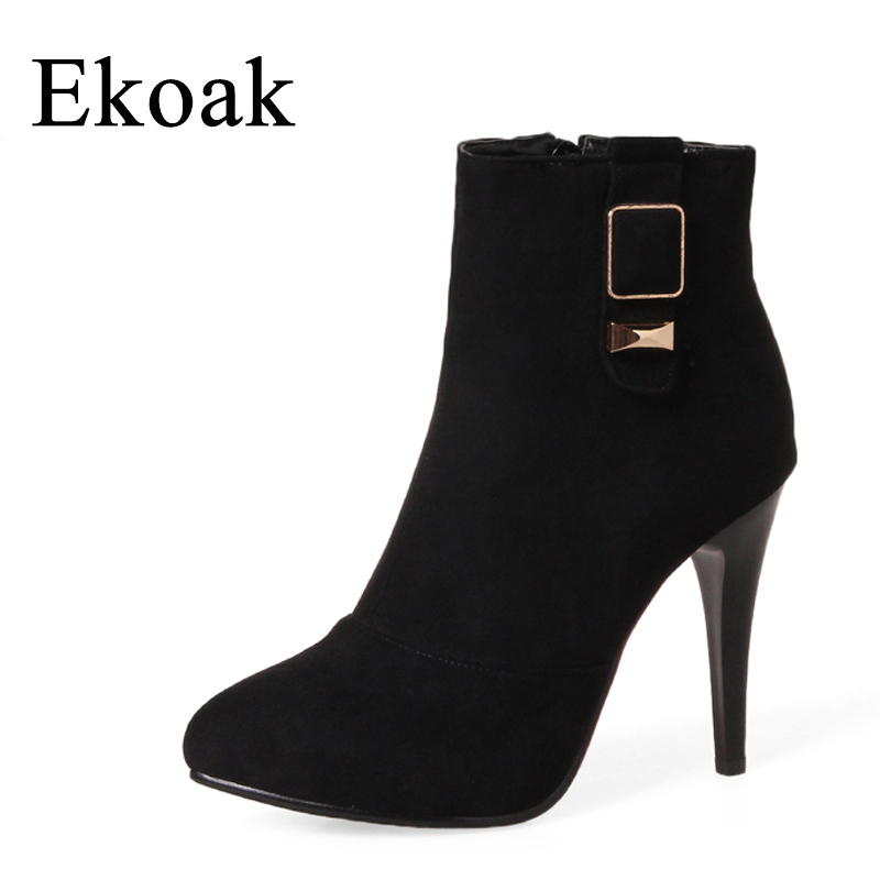 Ekoak New 2017 Autumn Faux Suede Boots Women Fashion Zip Ankle Boots For Women Ladies Boots with Metal High Heels Shoes Woman<br>