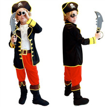 Kids Boys Pirate Costume Cosplay Costumes set for Boys Children Christmas New Year Purim Halloween Costumes For Kids Children(China)