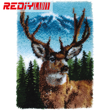 0089 REDIY LADIY Latch Hook Rug Crocheting Cushion Wall Tapestry Pre-Printed Canvas Yarn Embroidery Mat Forest Deer Carpet 110x(China)