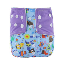 Baby Waterproof Cloth Diaper Buckle Design Diapers Washable Contrast Color Printed Baby Diaper For 0-12months kids(China)