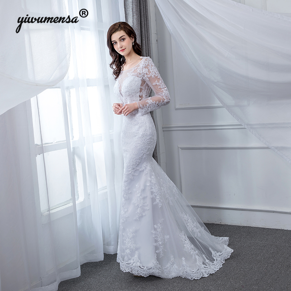 Real Picture Sexy Mermaid Wedding Dresses Simple Lace Wedding Gowns Vestido de noiva 2018 Backless Bridal Dress Robe De Mariage
