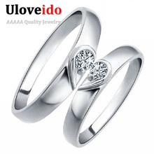 Heart Silver Color Anel Couple Ring Wedding Rings for Men and Women Costume Jewelry Rings Jewelery Marriage Uloveido J207