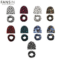 Fansin Brand Baby Boys Girls Hats Star Pattern Baby Hat +Scarf Cute Kids Cap Soft Warm Cotton Scarves Winter Children's Caps Set