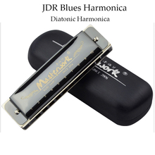 JDR Diatonic Harmonica 10 Holes Harmonica Blues Harp Professional Black Wind Instrument Mouth Organ C Key Gifts for Kids Adults