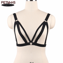 Womens Goth Sexy Body Harness Cage Bra Black Strappy Tops Bustier Elastic Bondage Lingerie Erotic Burlesque Dress Rave Garter(China)