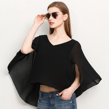The new fashion normic black cloak cape top loose V-neck regular sleeve chiffon shirt free shipping(China)