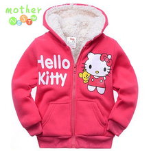 2017Retail Baby girls Cartoon Hello Kitty Winter fur coat,children outerwear,girls cotton thick warm hoodies jacket kids clothes