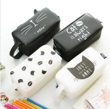 large capacity Cute Kawaii Pencil Case Lovely Cartoon Cat School Pencil Case School Kids Pencil Box Animals Supply Stationery
