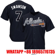 2017 Men's #7 Dansby Swanson #5 Freddie Freeman Majestic Navy Alternate Cool Base Player Embroidery Logos Jersey Free Shipping(China)