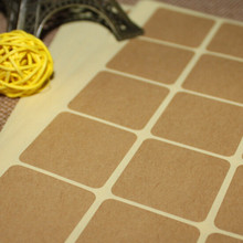 DHL 5000Pcs 3.5*3.5cm Square Kraft Paper Sealing Label DIY Blank Party Gift Baking Cookies Decoration Seal Sticker Adhesive Tag