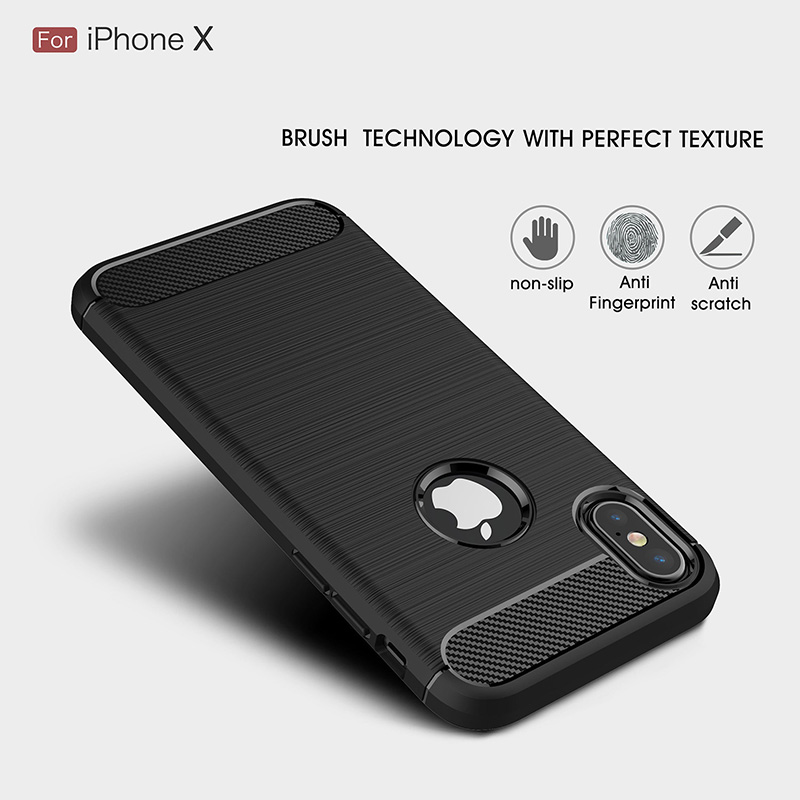 Carbon fiber brushed silicone case iphone x (2)