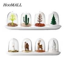 Hoomall Creative Cartoon Animals Plant Seasoning Bottle Spice Jar 4Pcs/Set Salt Pepper Shaker Kitchen Cooking Tool(China)