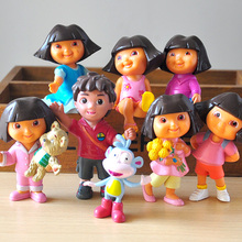 8Pcs/Set Cartoon Dora Action Figure Toys Dora With Backpack Boots Go Diego Mini Model Dolls