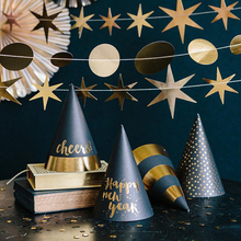 12pcs DIY 2018 Happy New Year Paper Eve Party Hats Balck And Gold Kids Adult Letters Cap Stripe And Dot Pattern Party Hat(China)