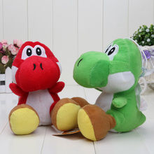 2pcs/lot 17CM Super Mario Bros Mario Luigi Red/Green Yoshi Plush Stuffed toys Dolls Mario Plush Pendant Toys(China)