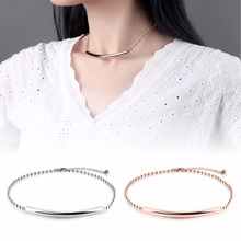 Hot Fashion Designed Women Chokers Necklaces Stainless Steel Rose Corlor Strand Chain Simple Decorative Necklace GX1251(China)