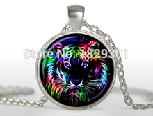 Tiger Necklace Tiger Pendant Tiger Jewelry Glass Dome Pendant Necklace