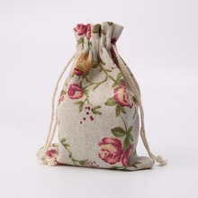 10pcs/Lot Vintage Flower Burlap Hessia Gift Bags Candy Jewelry Bags Wedding Party Favor Gift Pouch Bag 10cm*14cm