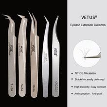 Tweezers Eyelash-Extension Eye-Makeup-Tools Volume-Lash Stainless-Steel VETUS 1pcs