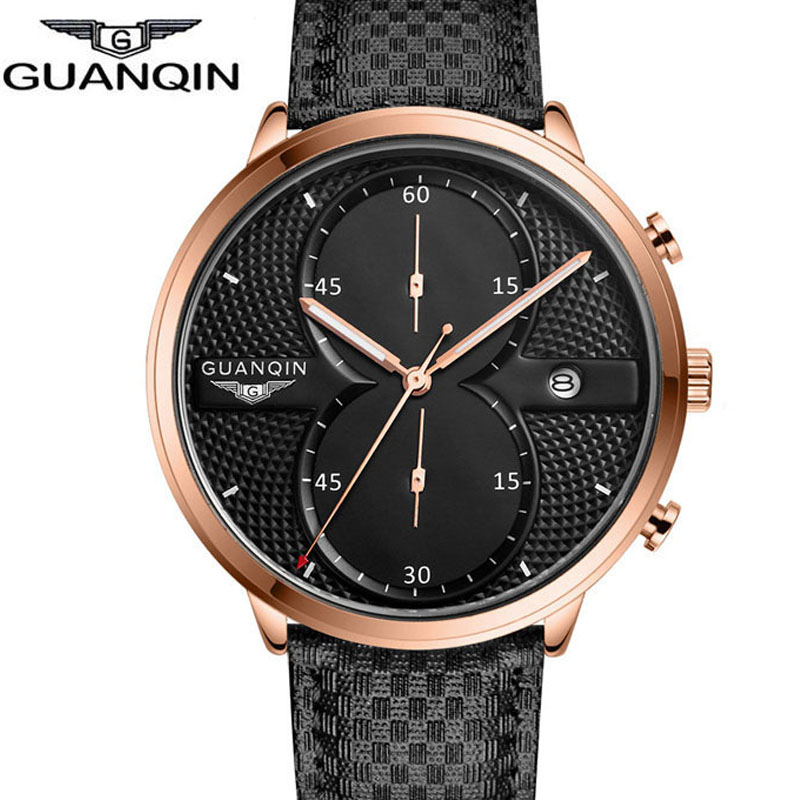 Luxury Brand GUANQIN Big Dial Designer Quartz Watches Men Sports Wristwatches Waterproof Leather Strap Watch Hours Clock Male<br><br>Aliexpress