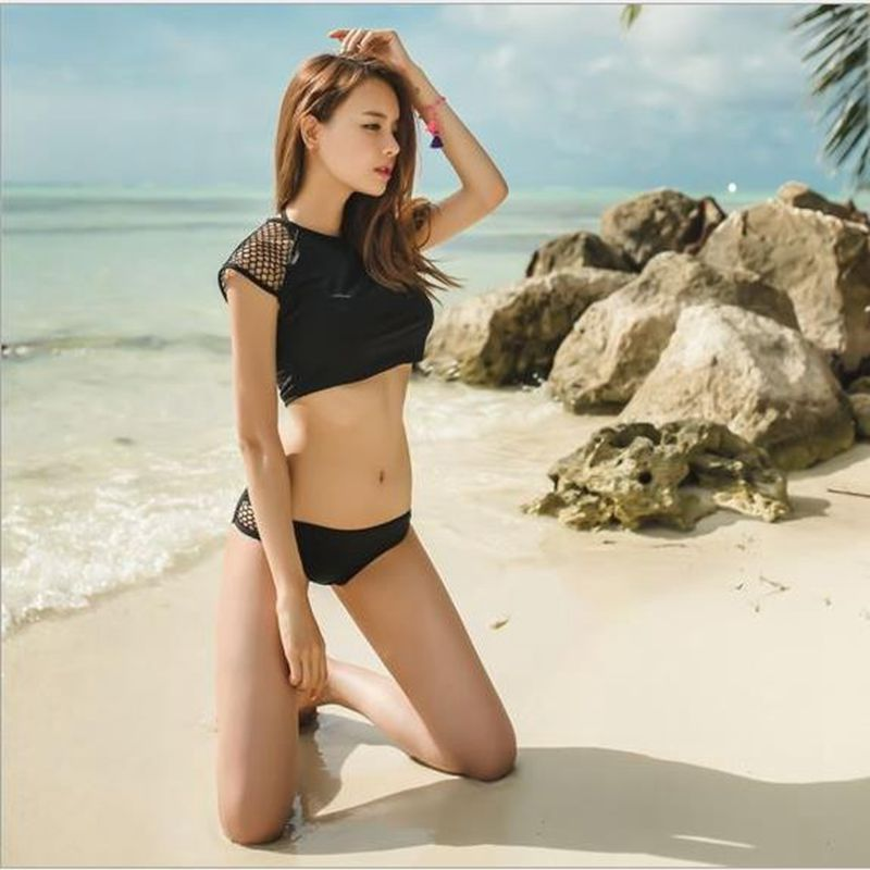 Brand New 2017 Summer Beach Sexy Solid bikini set Women Black Swimwear Sports Style Concise Design female Swimsuit bathing suit<br><br>Aliexpress