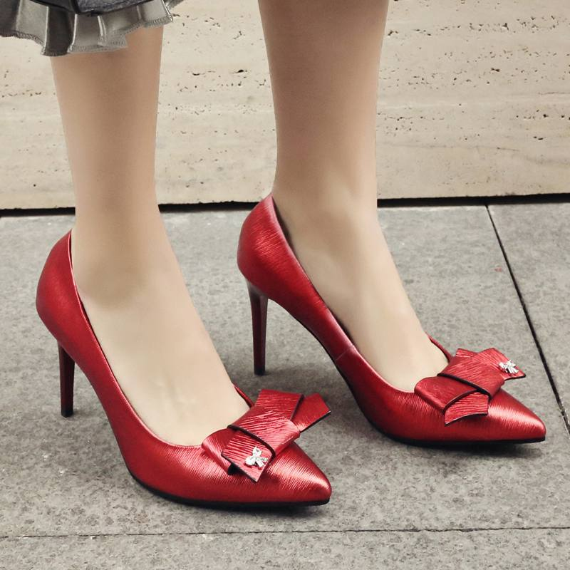 2017 Fashion Large Size Brand Shoes Slip on Pointed Toe Bowtie Wedding Green High Heesl Women Pumps Party Causal Sexy Shoes 28<br><br>Aliexpress
