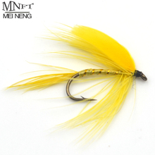 MNFT 10PCS [10#] Bright Yellow Color Winged Mayfly Trout Fly Fishing Lures Materials Hand Made Baits Yellow Sally Like(China)