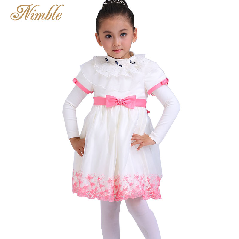 Nimble Bow  Embroidery Flower Baby Girls Dress Lolita Style Flower Mid-Calf O-neck Ball Gown Wedding Party Dress 1-4 <br><br>Aliexpress