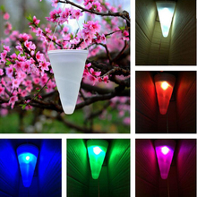 Hi-Lumix 17cm Cone Solar Power LED Garden light Outdoor Hanging landscape Lighting Pendant lamp RGB Xmas Decoration Nightlights(China)