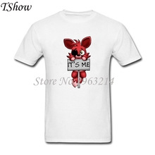 FNAF Plush Foxy Printed Men's T Shirt Short Sleeve O-Neck Super Size Man TShirts Best 100%Cotton Tee For Teenager Summer Clothes