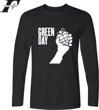 LUCKYFRIDAYF Green Day Long Sleeve T-shirt Black White Long T Shirt Men Tops Hip Hop Tee T-shirt O Neck Fashion Male Tees Tops