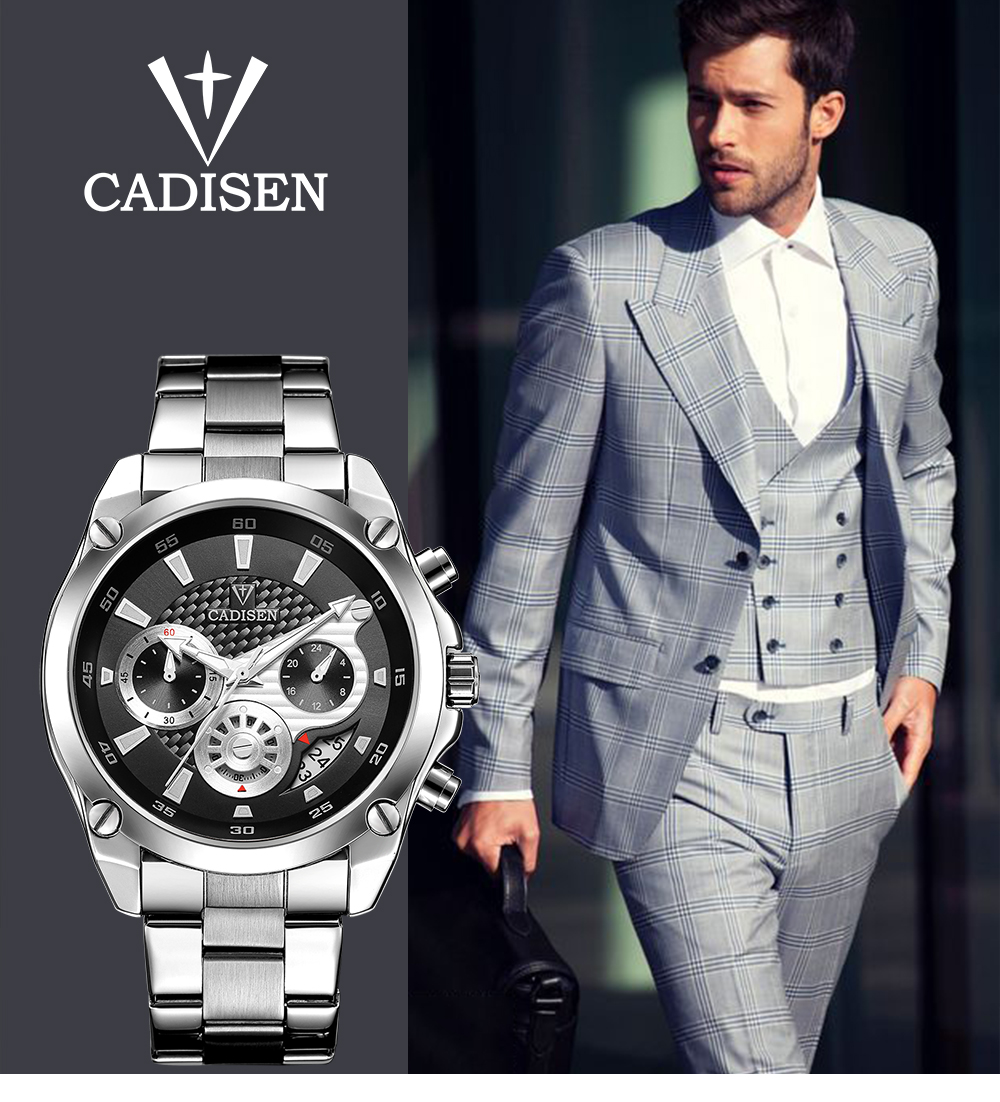 Top Brand Luxury CADISEN Mens Watch Full Steel Sport Watches Fashion Quartz Military Wrist Watch Relogio Masculino Waterproof 1