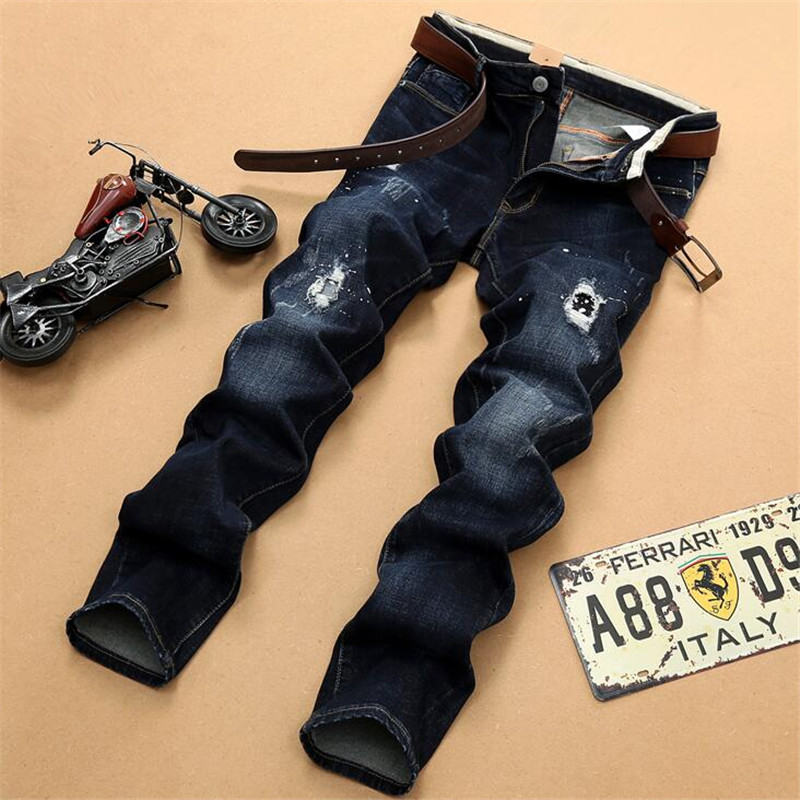 Brand New Mens Fashion Designer Blue Biker Jeans Men Distressed Motorcycle Ripped Denim Washed slim fit Jean Hole PantsОдежда и ак�е��уары<br><br><br>Aliexpress