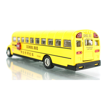 1:32 caipo Alloy School Bus Model Pull Back/Go Acousto-Optic Four Doors Can Be Opened Rubber Tire Children's Toy Car Model Gift