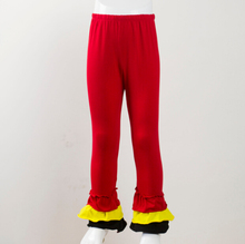new design trousers bottom three color triple ruffle pants children girls red yellow black ruffle cotton pant(China)