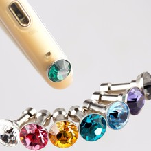 HOT SALE Mini 3.5mm Jack Crystal Rhinestones Cellphone Charms Earphone Audio Headphone Anti Crown Dust Plug Phone Crystal Metal