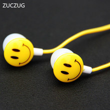 NEW Lovely Christmas Girl Earphone Smile Face Design 3.5mm Wired Earplugs Music For Smartphone MP3 Birthday Gift(China)