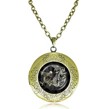 Dragon and tiger pendant necklace animal locket necklace yin yang jewelry for women men glass dome pendants locket back can open