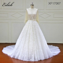 Vintage Flare Sleeves Sash Flower Lace Button Zipper Closure Court Tail A Line Wedding Dress Backless Fairy Style Bridal Gown(China)