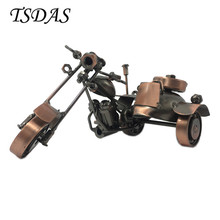 Fashion Three Rounds Motorcycle Model Handmade Metal Crafts Antique Bronze Iron Motor Model Desk Decoration For Holiday's