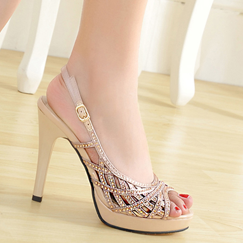 2016 Korean new summer sexy peep toe thin high heels pumps with platform buckle metal rhinestone slingback sandals women shoes<br><br>Aliexpress