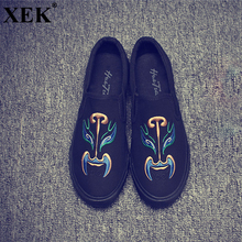 Buy XEK 2018 Classic Canvas Shoes Men Design Peking Opera Mask Pedal Male Soft Canvas Flats Chinese Style Print Walking Shoes JH206 for $17.98 in AliExpress store