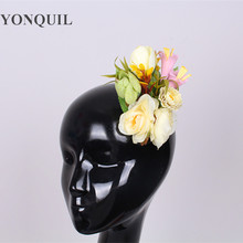 Silk Flower deccoration fascinator Brooch Hair Clip Wedding Party Woman Artificial flower hair Boutique Hair Accessories